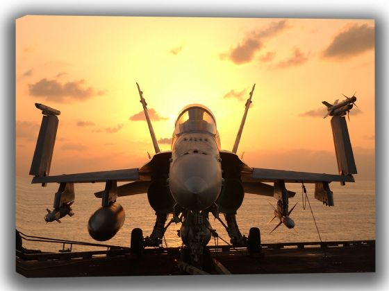 F-A-18 Hornet With Weapons Ready for Mission. US Military Aircraft Canvas. Sizes: A4/A3/A2/A1 (003976)